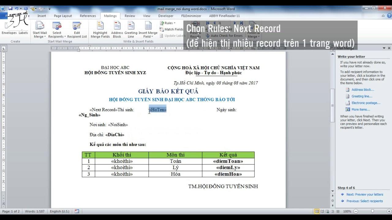 Cách trộn thư trong Word 2010 – sử dụng Mail Merge trong Word