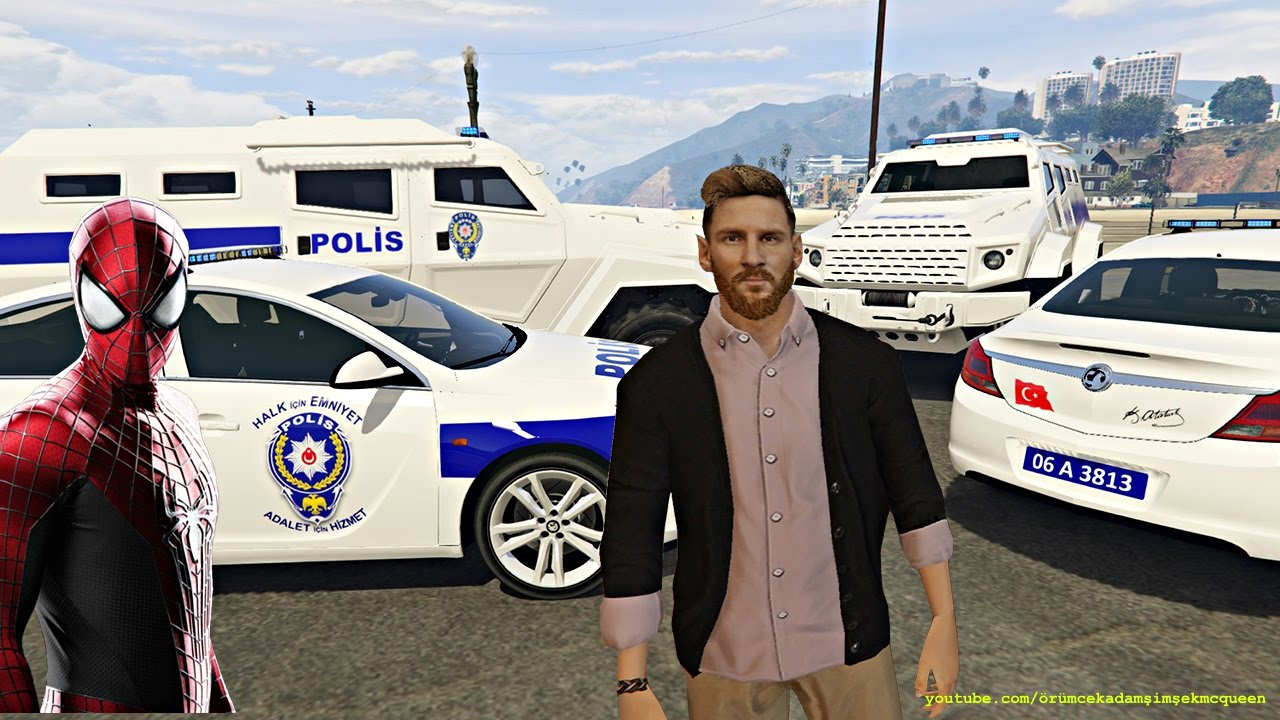 Messi ile Örümcek Adam Türk Polis Arabaları ile Suçluları Yakalıyor Çizgi Film Gibi Yeni Bölüm