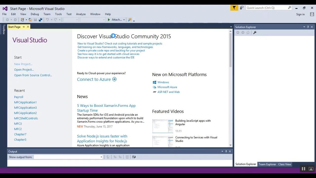 Visual Studio 2015 Visual C++ MFC 2017 - 01 - Basic Setup ...