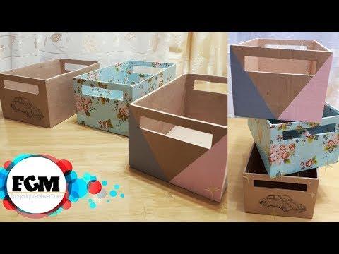 3 EASY AND SIMPLE WAY TO DECORATE STORAGE BOX l DIY CARDBOARD STORAGE BINS l ORGANIZER