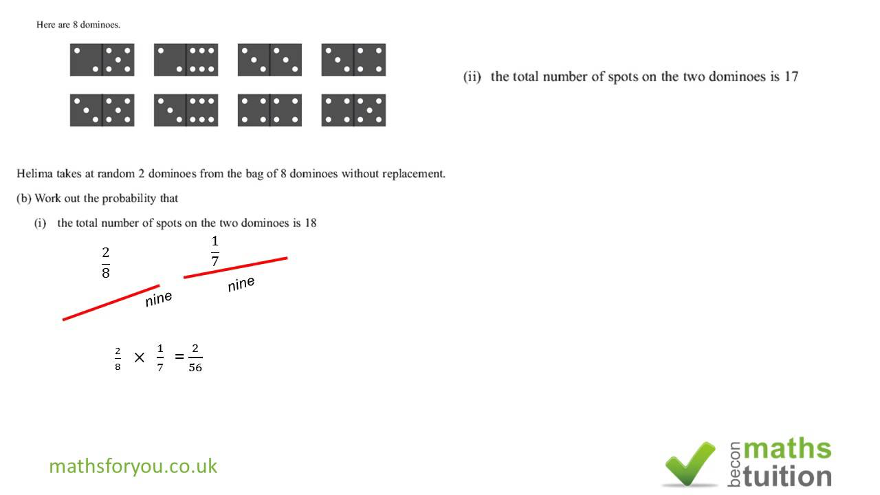 Probability iGCSE/GCSE Exam Question Sample Space Diagram Part 5