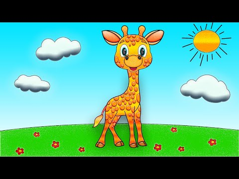 Cute Animal Drawings | Giraffe Drawing | Easy Animals To Draw For Kids & Toddlers