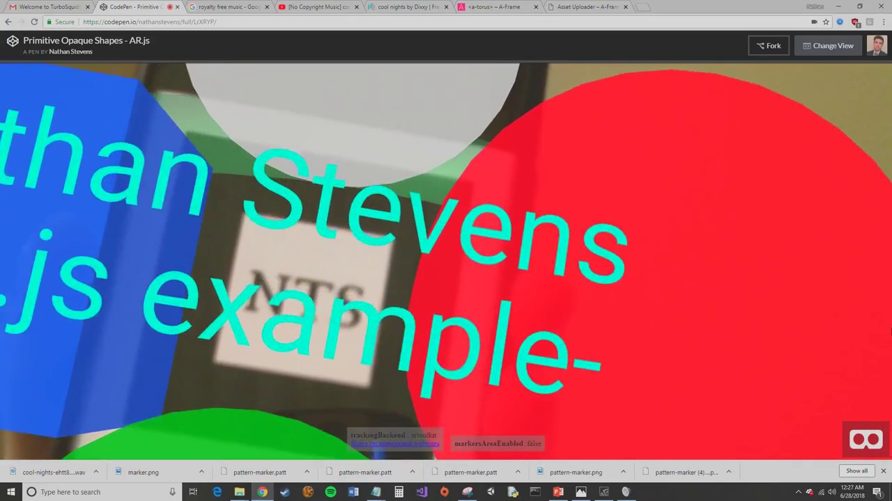 AR js Example - 3D Sound, Custom Marker, 3D Shapes, and more