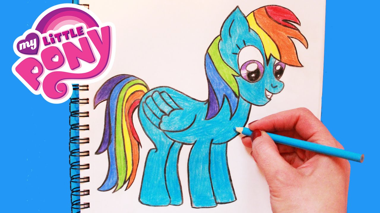 how to draw my little pony rainbow dash step by step easy toy caboodle youtube