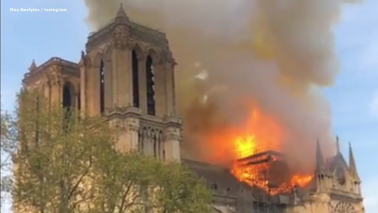 Notre Dame Fire: 'Everything is burning' in Paris cathedral blaze after spire collapse