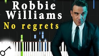 Robbie Williams - No regrets [Piano Tutorial] Synthesia | passkeypiano