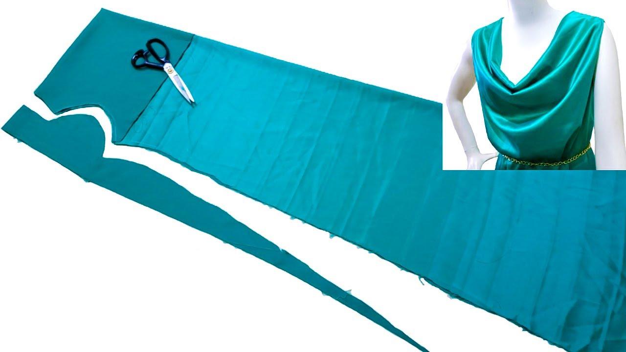 فكرة مدهشة جدآ لخياطة فستان للكبار|اسهل طريقه خياطة و قص فستان في 8 دقائق فقط