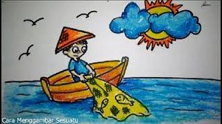 Gambar Nelayan Animasi Untuk Anak Sd Cara Menggambar Nelayan Youtube