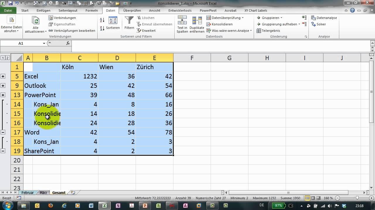 Excel # 270 - Konsolidieren (3) mit verknüpften Tabellen - YouTube