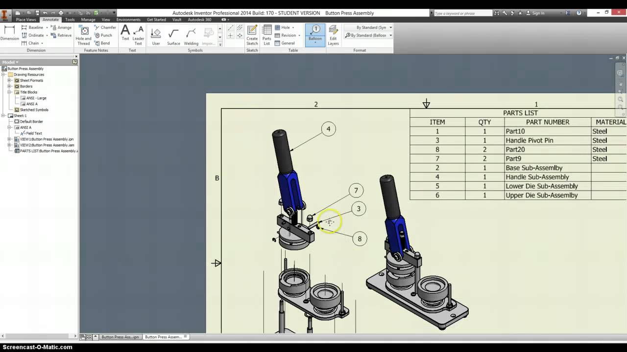 Button maker drawings and presentation exploded view for View maker