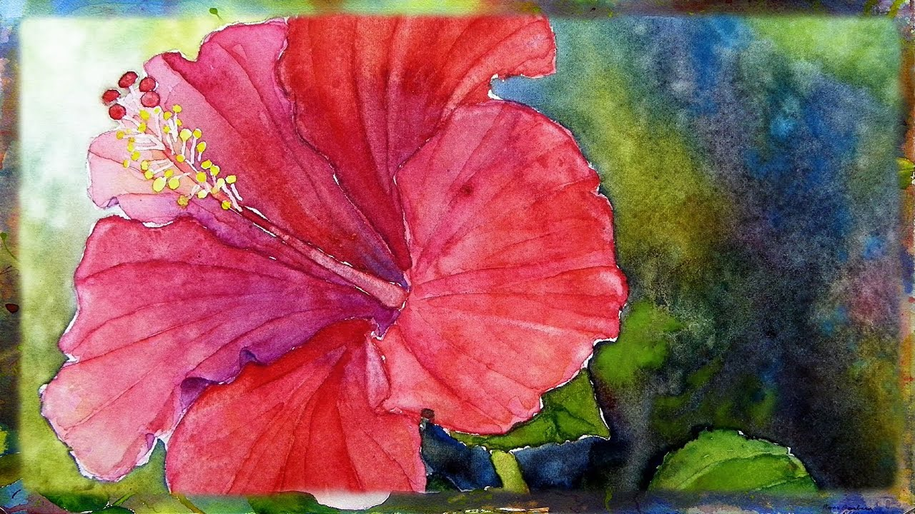 How To Paint The Red Hibiscus Flower In Watercolor By Ross Barbera