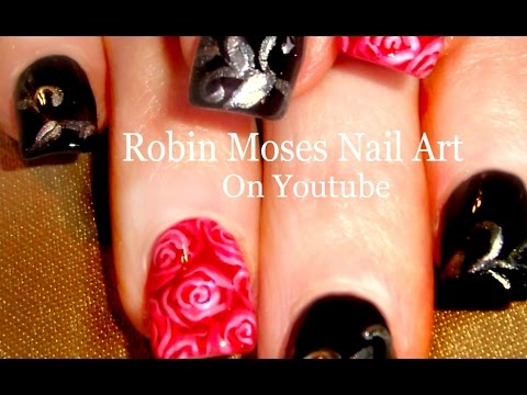 Red rose nail art design with black and silver filigree accent red rose nail art design with black and silver filigree accent nails youtube prinsesfo Choice Image