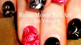 Red Rose Nail Art Design with Black and Silver Filigree Accent Nails