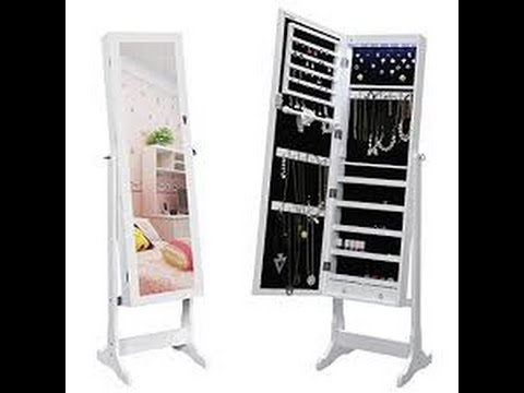 Review: SONGMICS Jewelry Cabinet Standing Jewelry Armoire Organizer With  Mirror LED Light, White
