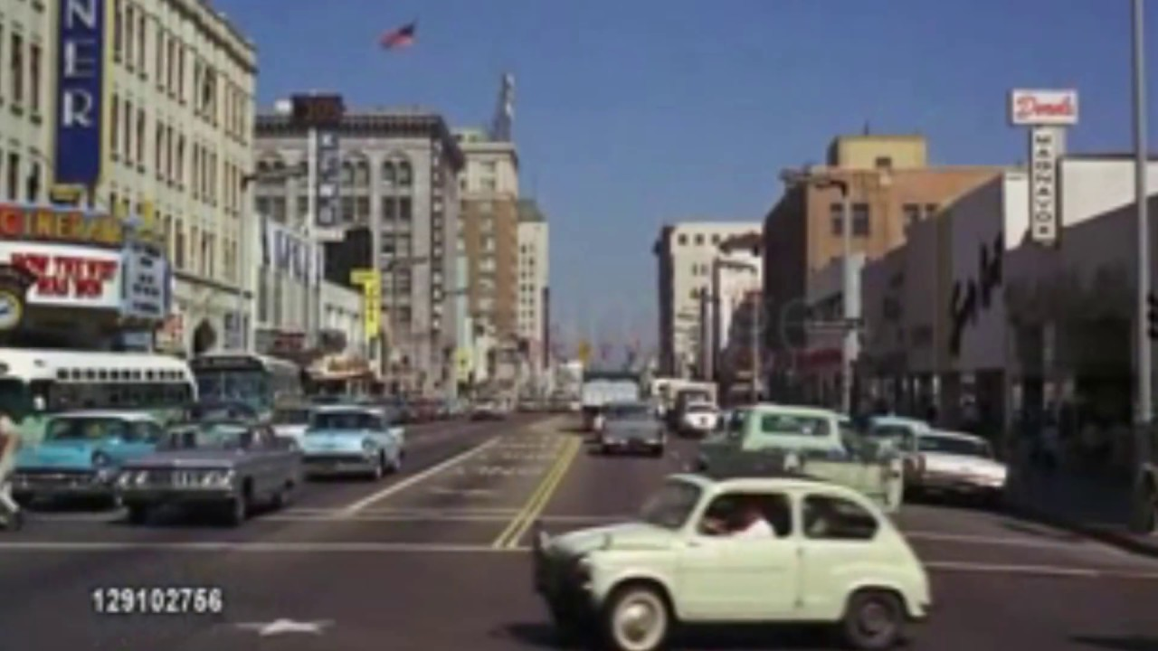 Driving Down Los Angeles Sunset Strip - 1964 - Archive Footage