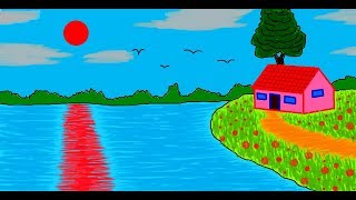 How to draw a House Scenery in MS Paint | Simple Painting in MS Paint | Learn Drawing Easy ComeTube
