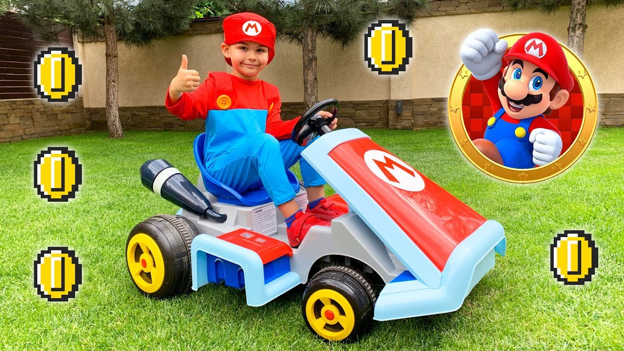 Funny Dima unboxing power wheels Mario kart