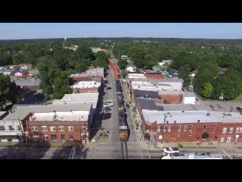 CSX Street Running in La Grange, Kentucky (drone video)