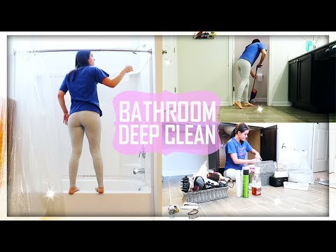 DEEP CLEANING and ORGANIZING My Whole Bathroom \\ Bathroom Clean With Me 2018