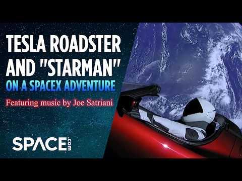 Tesla Roadster and 'Starman' On a SpaceX Adventure - Feat. Joe Satriani Music