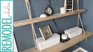 Easy DIY Nautical Floating Rope Shelf with Reclaimed Wood