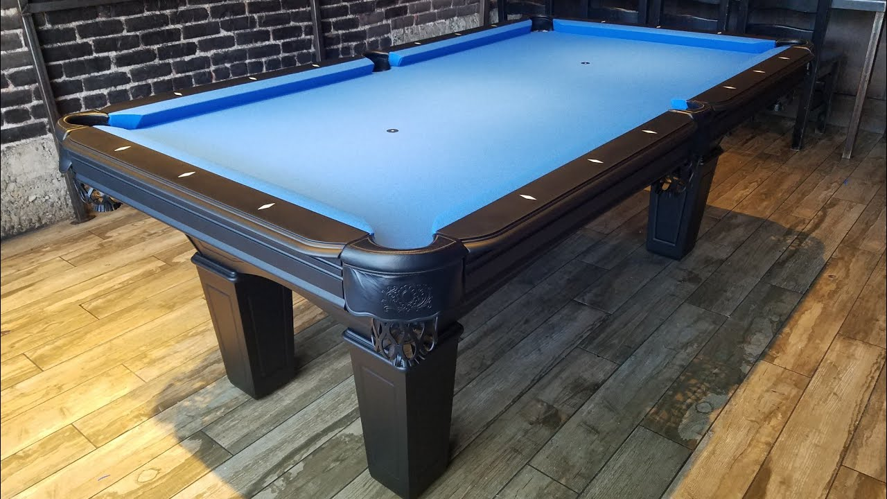 Black Pool Table, Wisconsin 7ft With Electric Blue Felt