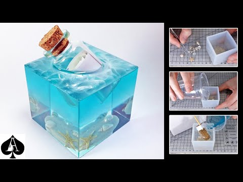 Message in a Bottle Epoxy Resin Paperweight Cube with Ocean Sea Foam Effect | DIY