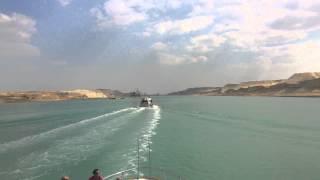 فيديو تاريخى للملاحة بقناة السويس الجديدة بطول 10كيلو متر 4ابريل 2015