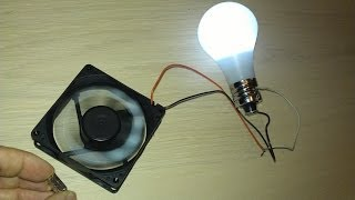 Free Energy Magnet Motor fan used as Free Energy Generator 'Free Energy' light bulb!