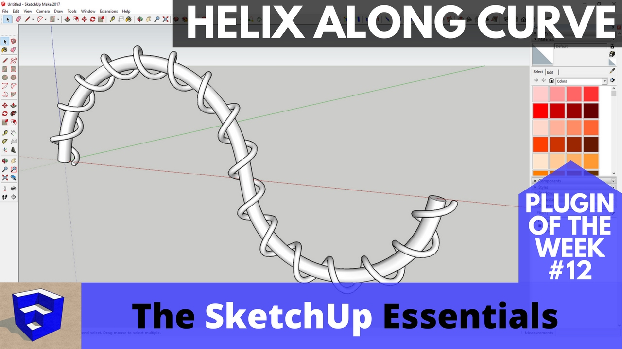 Create Helixes in SketchUp with Helix Along Curve - The