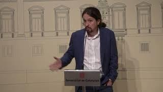 Rueda de prensa de Pablo Iglesias desde el Palau de la Generalitat