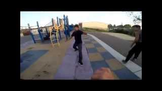 Crazy Parkour Chase, Ends in Fight.