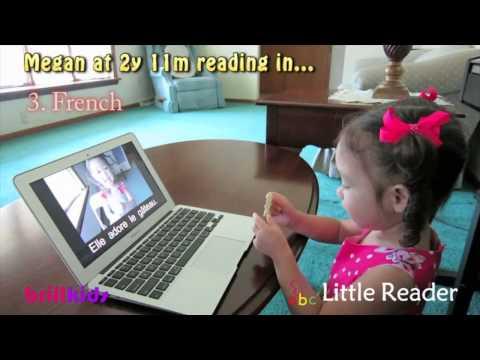 Toddler Megan reading in 5 Lan...