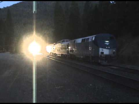 Amtrk191 w Private Cars On The Siding at Greenville, Ca,  then a Pass By - July 2012.avi