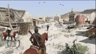 Red Dead Redemption - How To Drag An Enemy - Dragging - Throat Slice Execute - Lasso + Horse