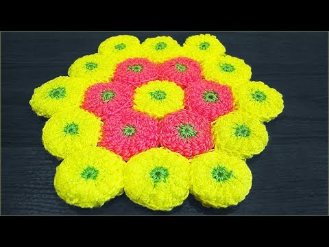 Схема коврик цветок крючком