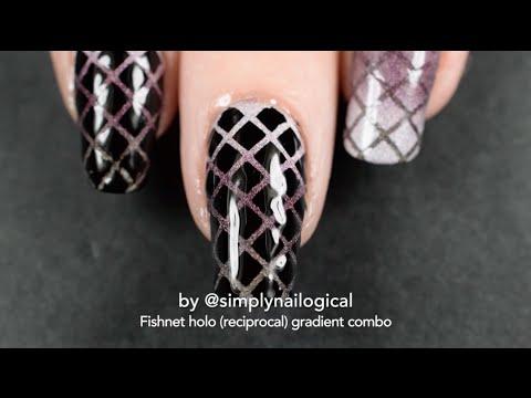 Fishnet And Reciprocal Gradient Nail Art