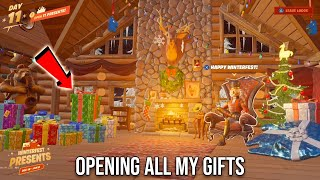 OPENING ALL OF MY FORTNITE CHRISTMAS PRESENTS AT ONCE! *FREE* COSMETICS (Lodge Exploration)
