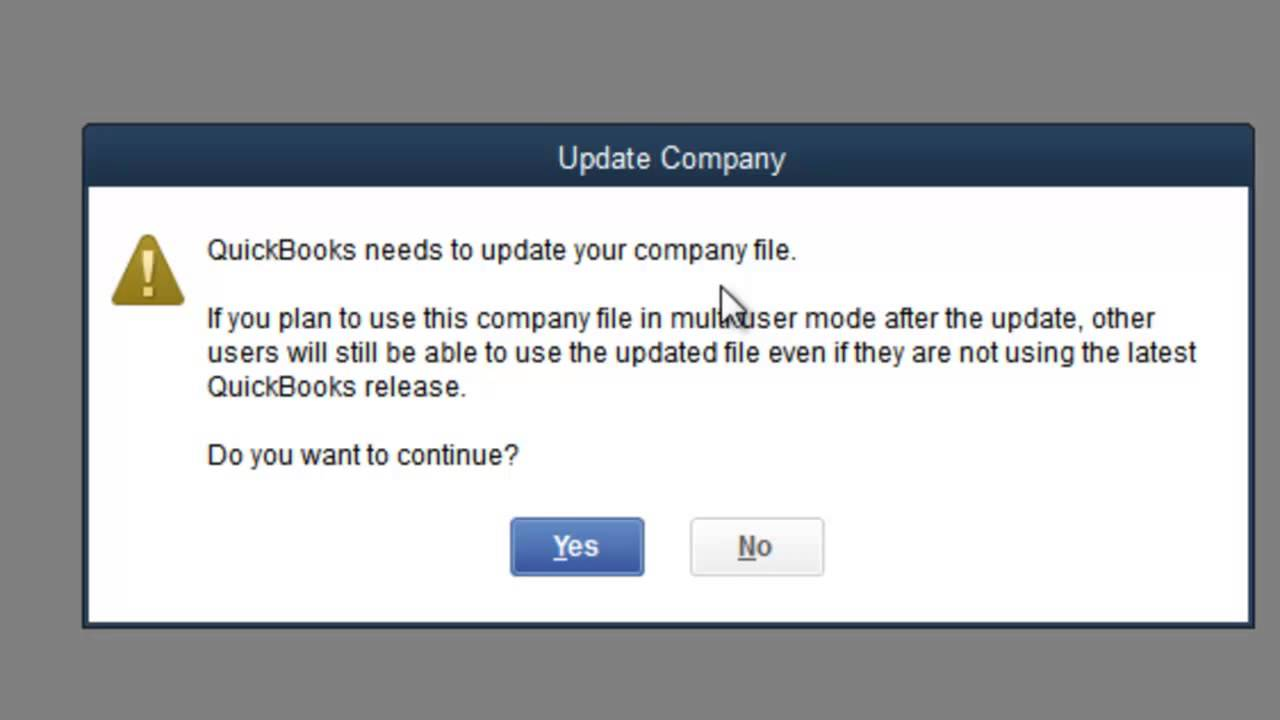 Quickbooks not updating company file