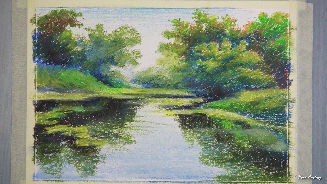 Oil Pastel Riverside Jungle Landscape Painting Step By