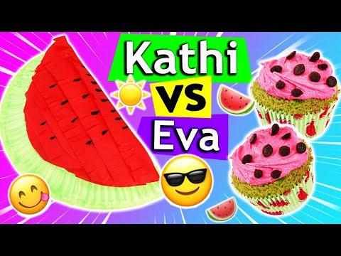 WASSERMELONEN DIY IDEEN Kathi vs Eva | Cupcakes & Piñata selber machen | Sonntagschallenge #130