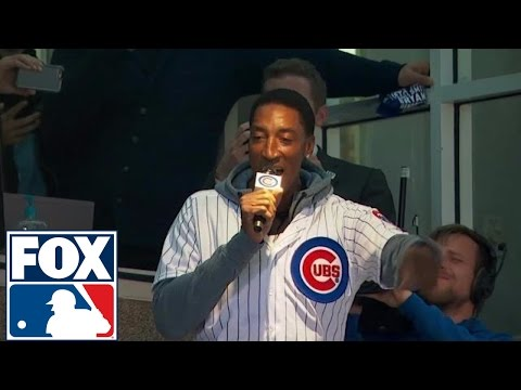 Scottie Pippen has trouble with 'Take Me Out to the Ball Game' at Wrigley Field