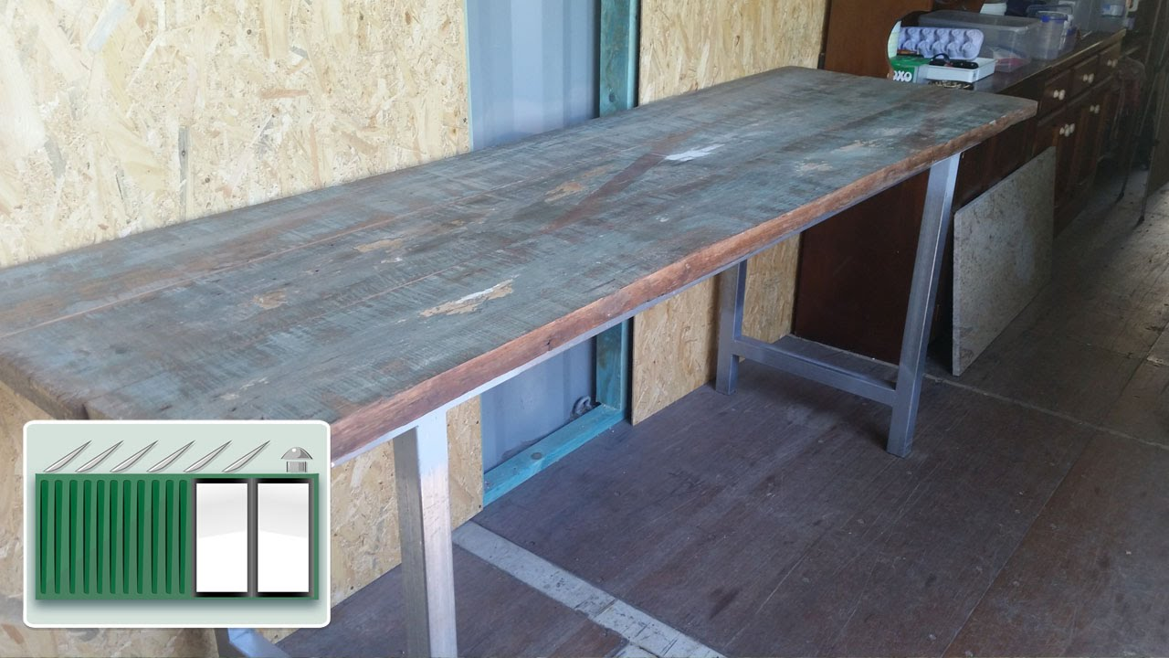 Shipping Container house – Building a kitchen bench worktop - YouTube