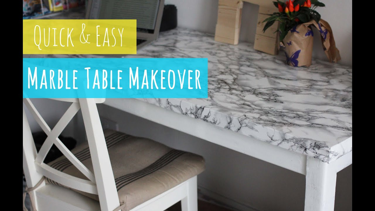 DIY Marble table, quick and easy table makeover - YouTube