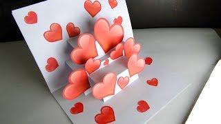 DIY 3D Pop Up Card | Handmade Heart Card For Valentine's Day