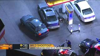 Police shootout at gas station caught on tape