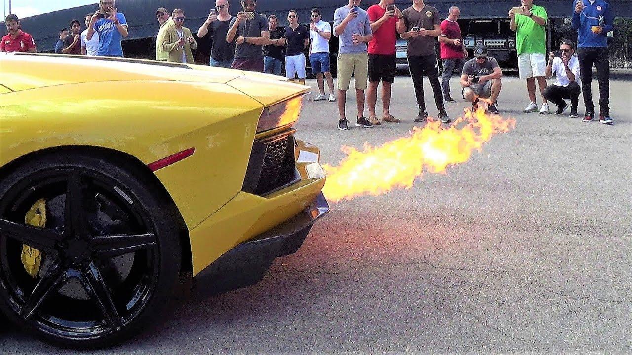 HOT GIRL Driving SHOOTING FLAMES Revving Lamborghini Aventador At  Lamborghini Miami
