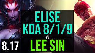 Download Video ELISE vs LEE SIN (JUNGLE) ~ KDA 8/1/9 ~ Korea Challenger ~ Patch 8.17 MP3 3GP MP4