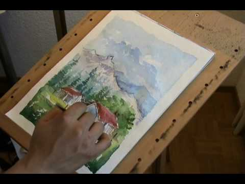 Watercolor painting of a landscape - YouTube