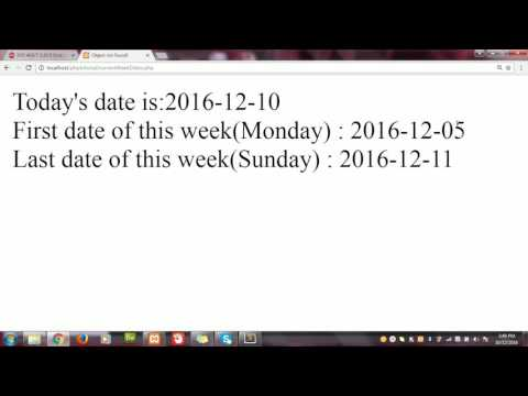 How To Get Current Week's Start And End Date In PHP